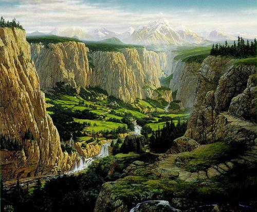 Rivendell: Hobbit Holesmialsmiddleearth, Earth Art, Drop-Off, Fantasy Art, The Hobbit, Middle Earth, Things Tolkien, Ted Nasmith, Interpretation Tolkien