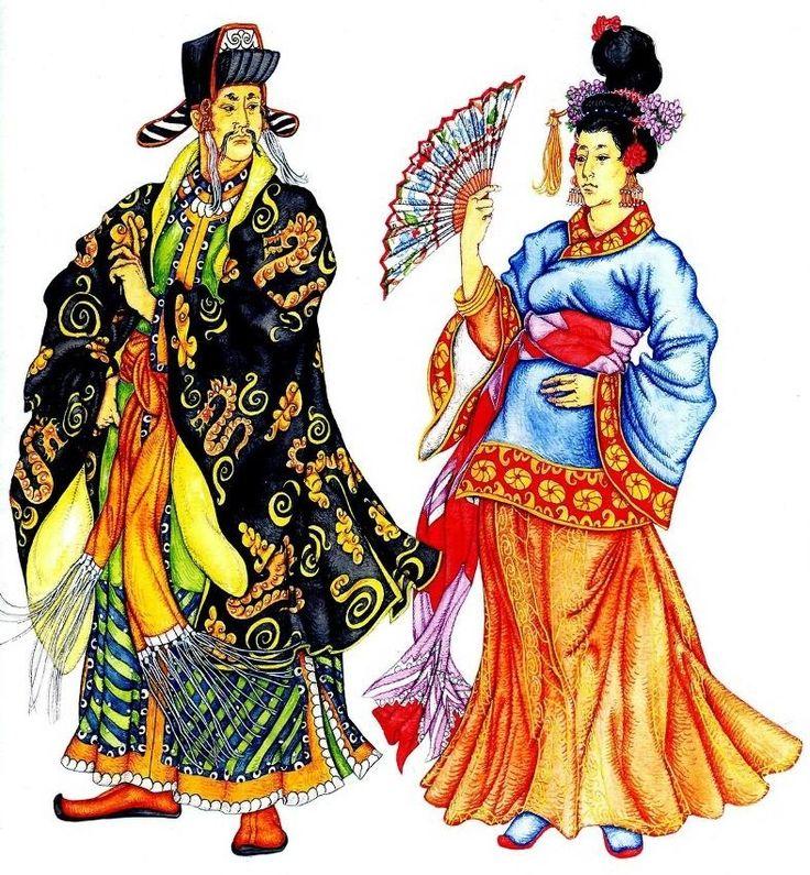 На мужчине: нижний халат с разрезами и верхний с вышивкой, пояс с бахромой На женщине: нижняя одежда с вышивкой и шелковая верхняя куртка