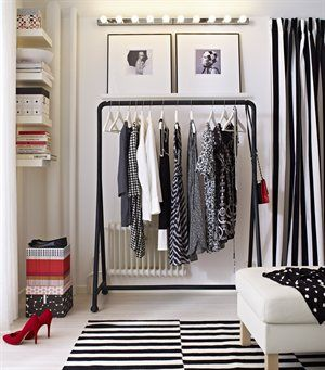 In limited space swap a wardrobe for a hanging rail. The beauty of open storage is that you see what you have and it makes a feature of your clothes.