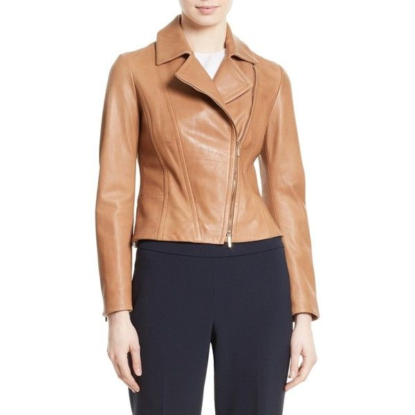 Women's Boss Sandalia Lambskin Leather Jacket (1,195 CAD) ❤ liked on Polyvore featuring outerwear, jackets, caramel, lambskin jacket, cropped jacket, lambskin leather jackets, boss hugo boss and lamb leather jacket