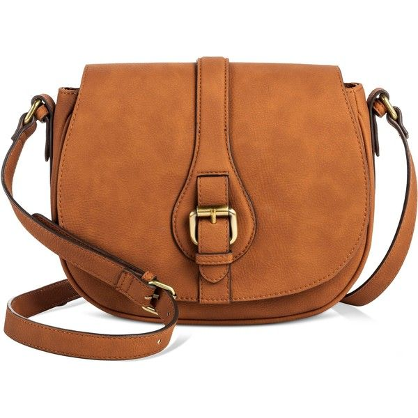 Women's Timeless Collection Saddle Crossbody Butternut Wood - Merona,... ($30) ❤ liked on Polyvore featuring bags, handbags, shoulder bags, brown handbags, brown cross body purse, purse shoulder bag, brown shoulder bag and target purses
