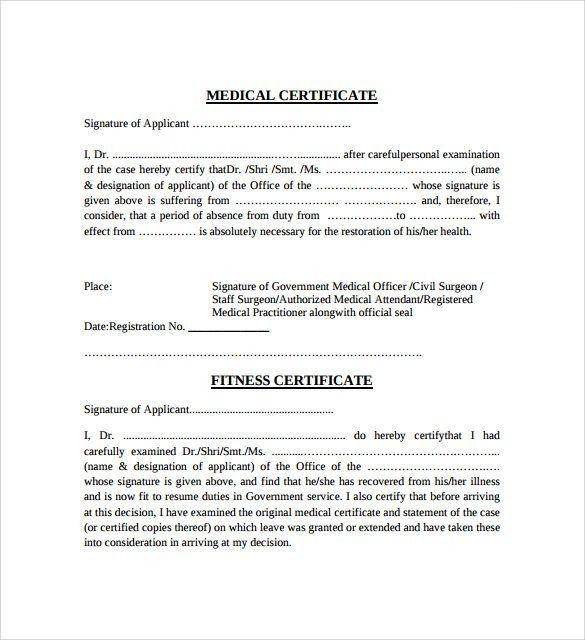 Medical Certificate Sample 1964 Medical Certificate Medical Experts