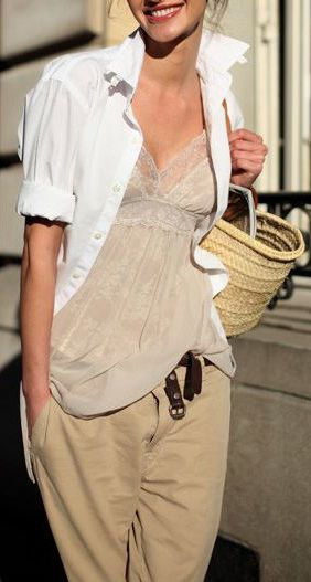 White rolled sleeve shirt, lace sheer camisole, loose khakis. I would op for a brown or orange tank instead of the sheer camisole - for me anyway