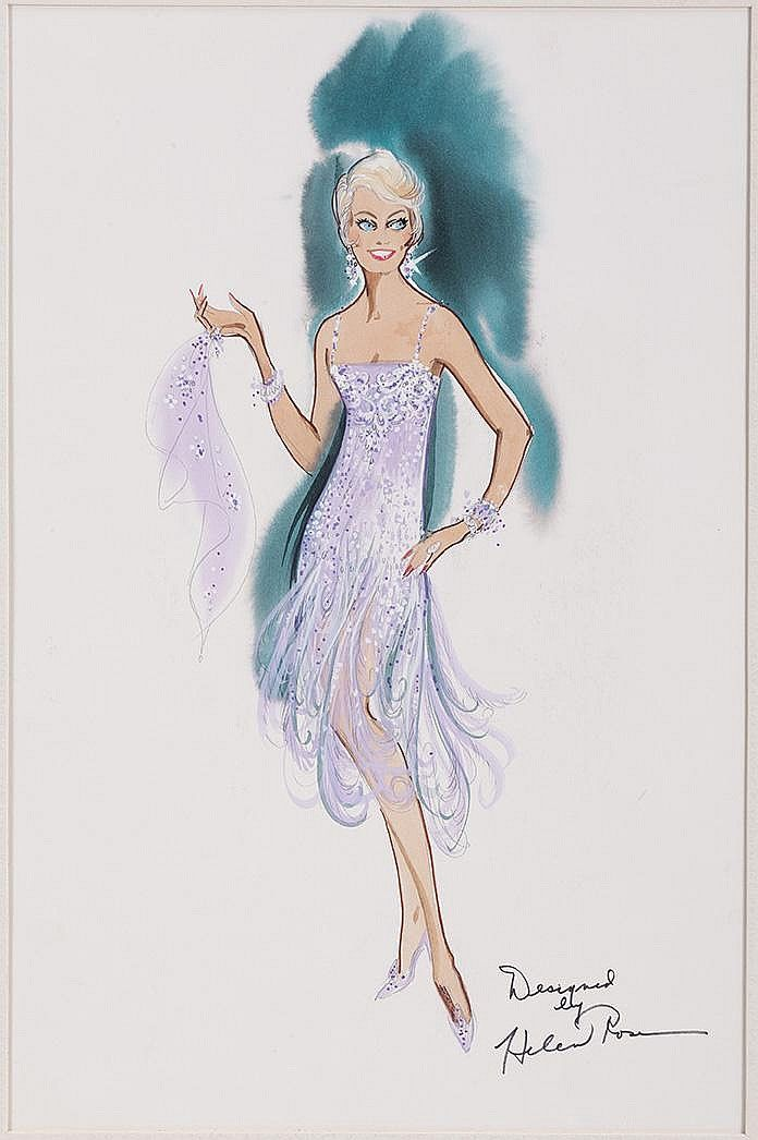 Helen Rose Costume Sketch of Doris Day for Love Me or Leave Me.