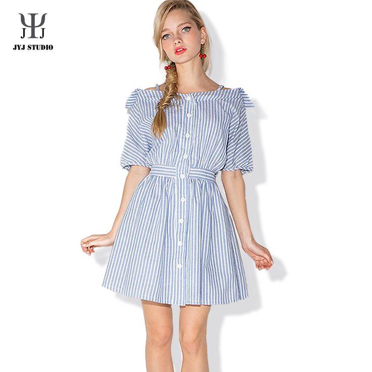 Aliexpress.com : Buy Women Striped Shirt Dress Lantern Sleeve Slash Neck Blue Striped Dress A line Button Summer Dress from Reliable dresses for larger women suppliers on JYJ STUDIO