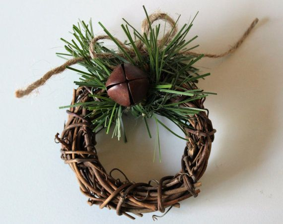 Rustic Christmas Winter Napkin Rings, Rustic Wedding Table Decor, Christmas Holiday Accessories, Mini Grapevine Wreath