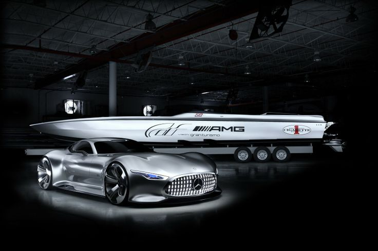 Mercedes-AMG Vision Gran Turismo and Cigarette Racing 50 Vision GT concept.   #mercedes #mercedesbenz #amg #mercedesamg