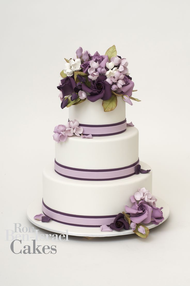 """Three stacked round tier cake for 50 people. By Ron Ben-Israel Cakes. Blog post: """"How many tiers do I get?"""""""