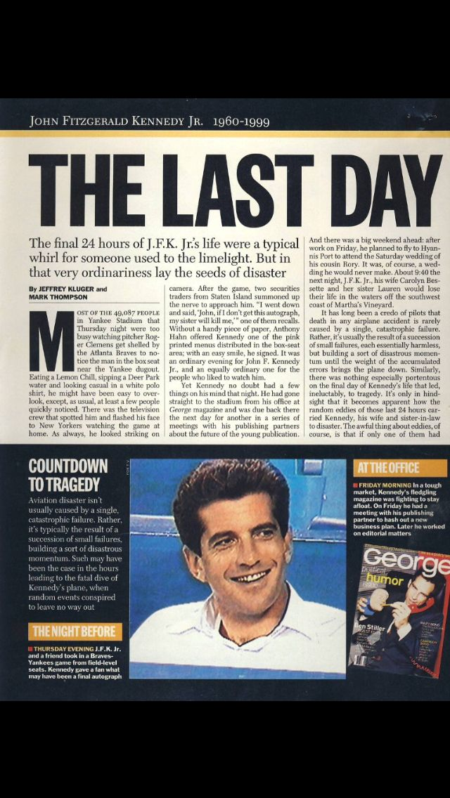 The Very Last Picture of JFK Jr. July 15, 1999 at Yankee Stadium John Kennedy