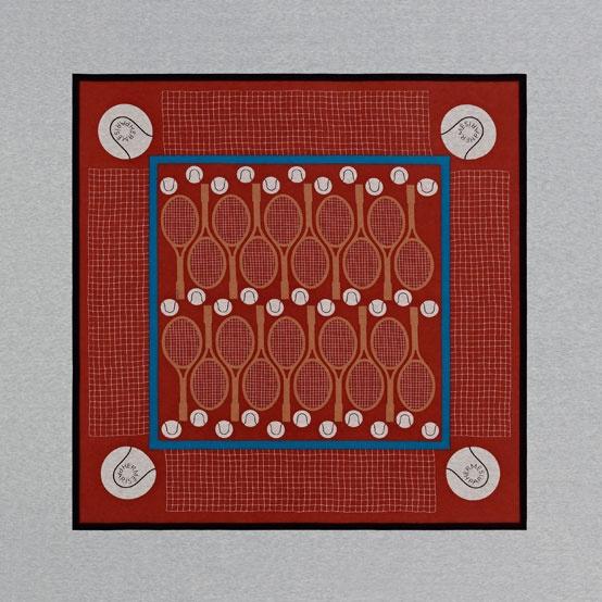 Cotton jersey scarf TENNIS. #Hermes #Silk #Grey #Red