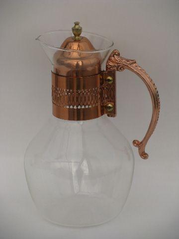 Vintage Corning glass bottle carafe, retro 60s copper handle pitcher