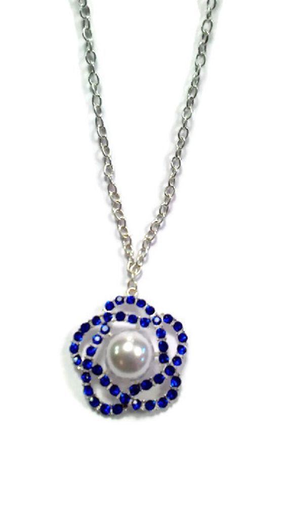 Collana donna necklace con fiore e strass Shiny Flower blu