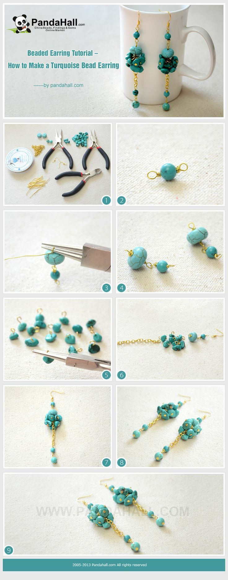 Beaded Earring Tutorial - How to Make Long and Clustered Turquoise Bead Earrings from pandahall.com
