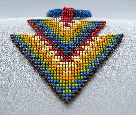 Seed Beaded Necklace, Art Jewelry, Double Arrowhead Earth Symbol. Colorful beadwork Necklace
