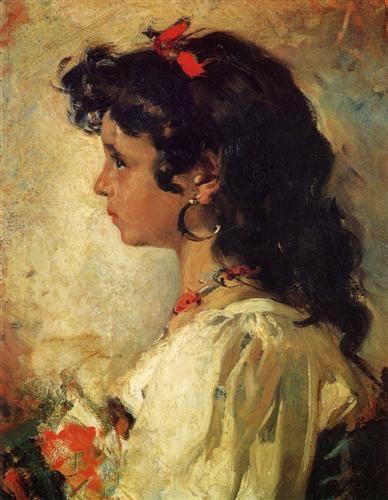 Head of an Italian Girl - Joaquín Sorolla -- Completion Date: 1886