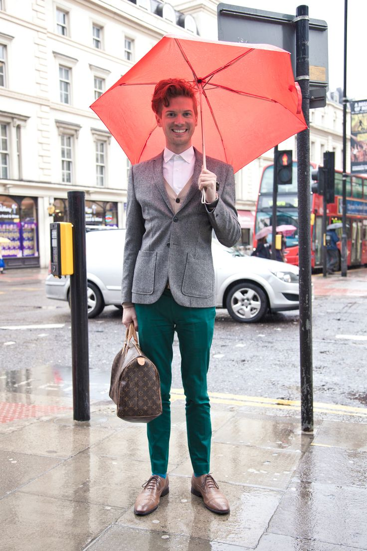 London Street Style On Oxford Street And Soho Green Trousers And Red Umbrella Style