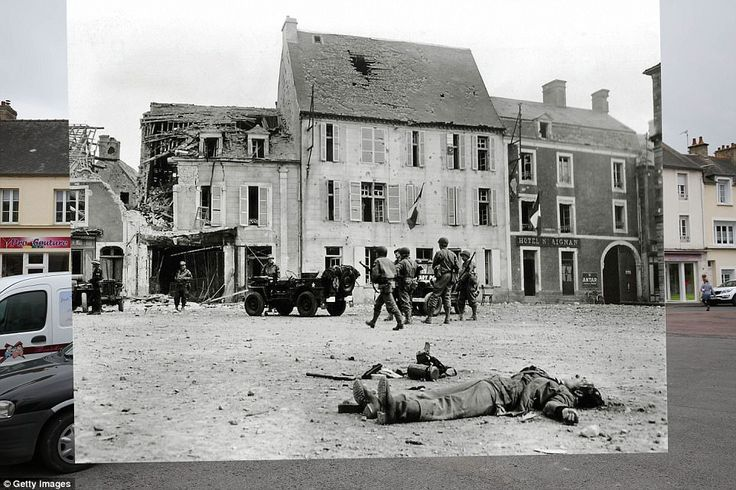 Trevieres, France. 1944: The body of a German soldier belonging to the 2. Infanterie Regim...