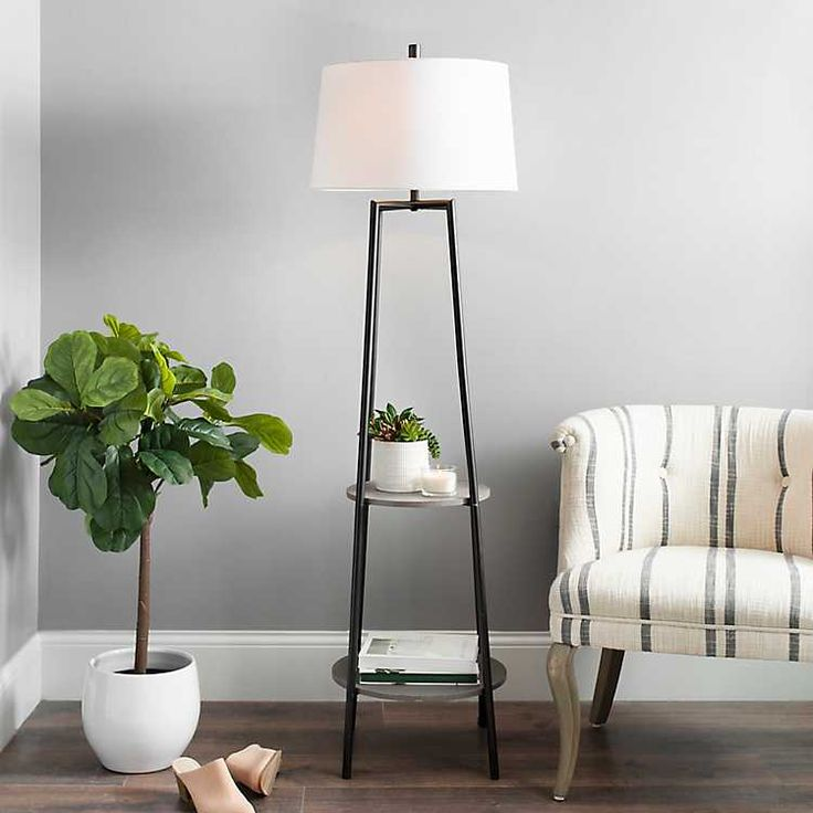 Freemont 2Tier Shelf Floor Lamp Floor lamp with shelves