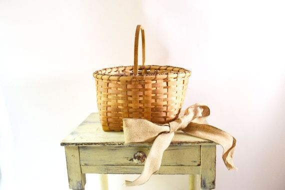 Split Wood Basket Handmade Basket Woven Basket by Vintassentials