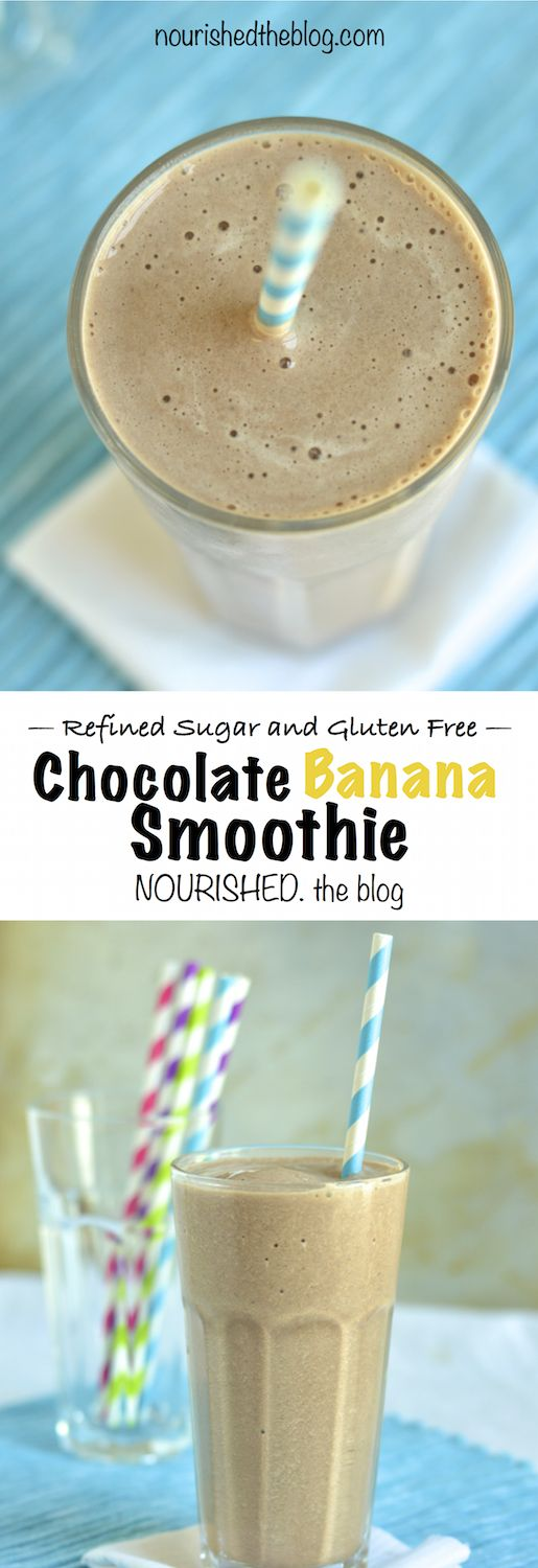 chocolate banana smoothie |  nourishedtheblog.com | the best chocolatey banana smoothie made with bananas, milk, cocoa powder and honey