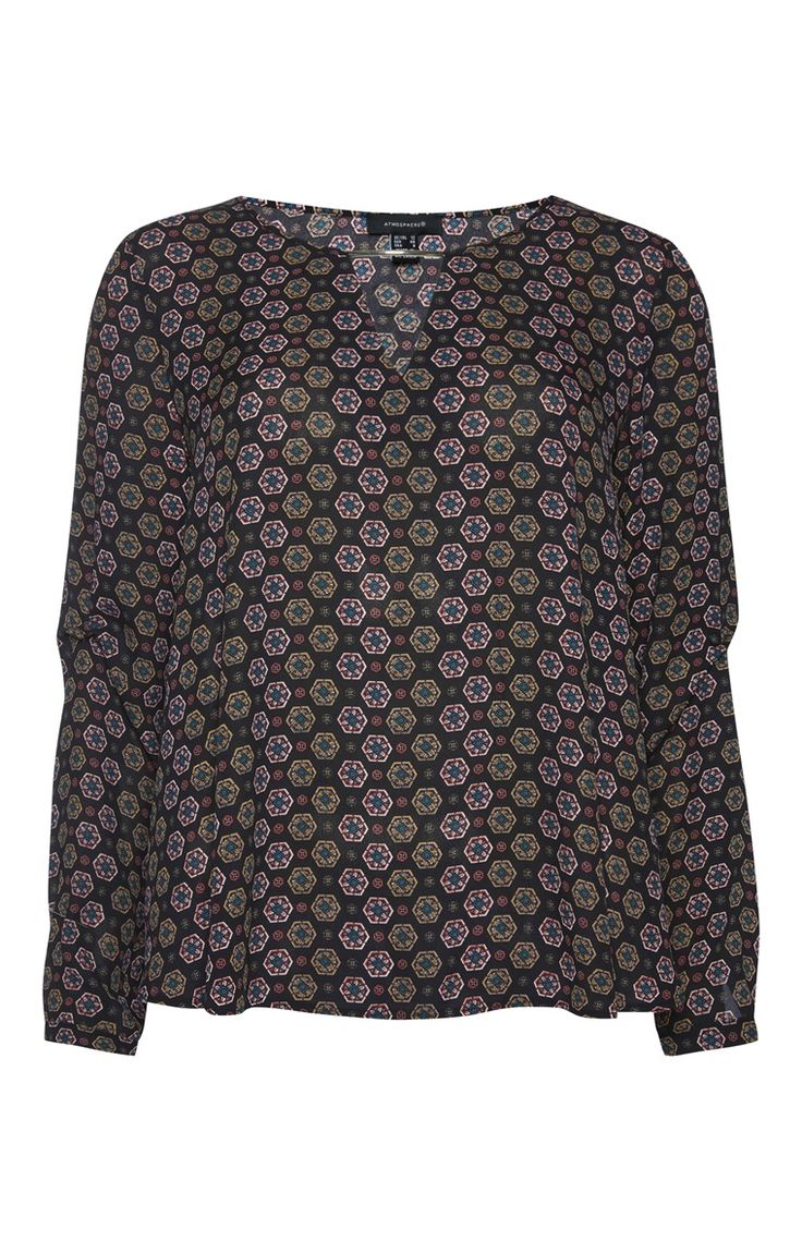 Primark - Black Print Long Sleeve T Bar Shell Top