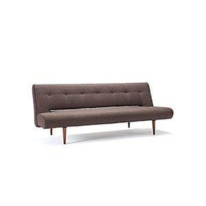 En smart 50′er klassiker. Denne stilrene sovesofa uden armlæn fra danske Innovation er det perfekte hvilested til dit hjem. Fås i farven mørk brun med mørke træben.