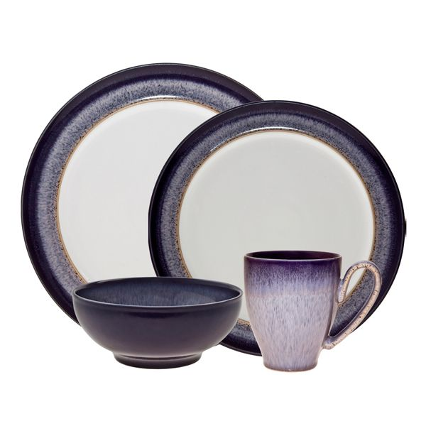 Denby Pottery - Heather 4 piece set Our Denby USA cousin of Halo! This pattern uses a blue speckle in a lilac glaze intensified with dark purple edge.  sc 1 st  Pinterest & 24 best Denby images on Pinterest | Dinner ware Dinnerware and Bowls