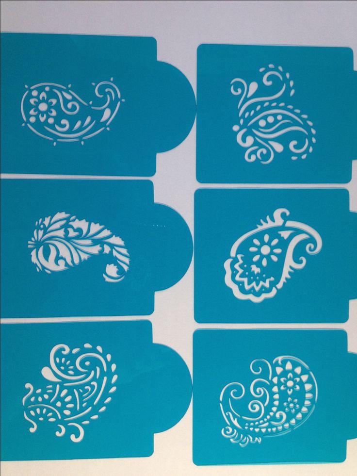Mehndi Cake Stencil : Paisley stencils henna mehndi mehendi set of sl