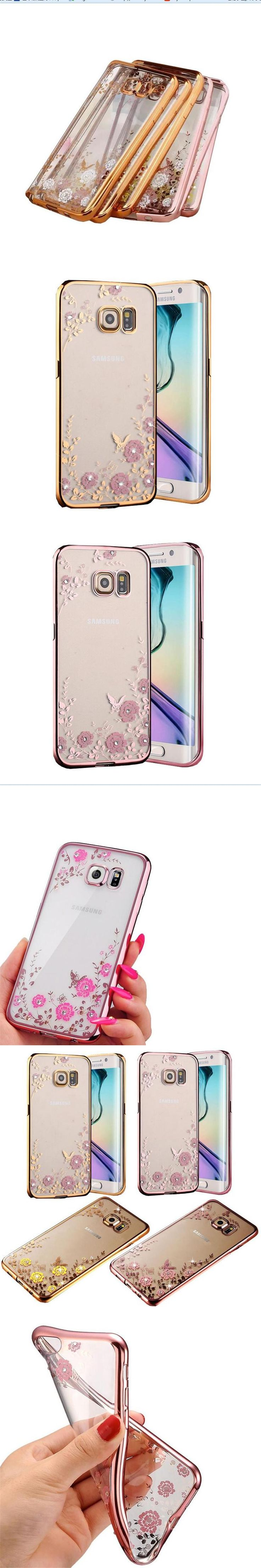 New Luxury Secret Garden Flowers Rhinestone Cell Phone Cases For Samsung Galaxy J5 J7 2016 note4&5 s6 s7 Plating Rose Gold Case
