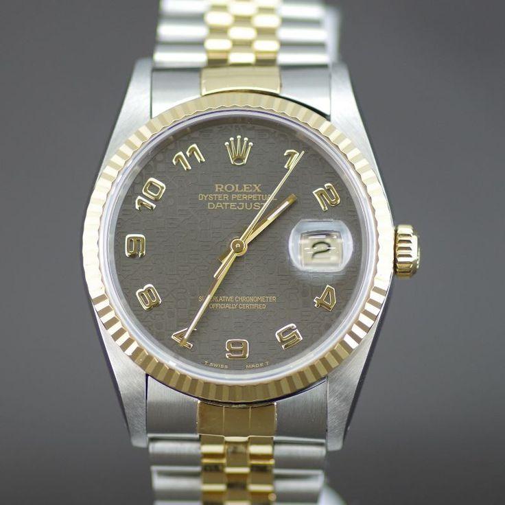 【中古】ROLEX(ロレックス) 16233 X番 デイトジャスト オートマチック K18YG SS メンズ ブラウン ホリコンピューター文字盤時計/新品同様・極美品・美品の中古ブランド時計を格安で提供いたします。
