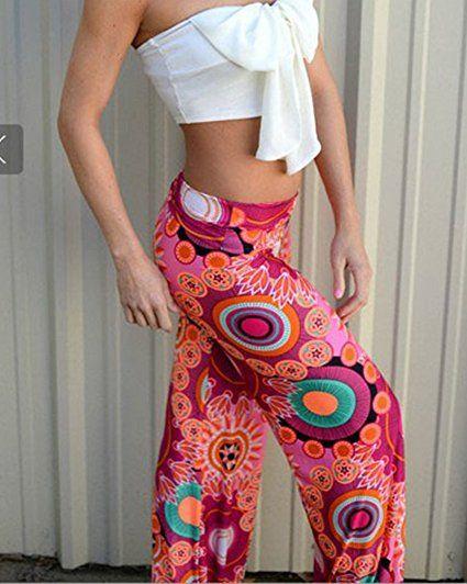 Moollyfox Donne Casuali Confortevole Pantaloni Gamba Larga Vita Bassa Rosa Rossa Arancione Stampati Larghi Pantaloni: Amazon.it: Sport e tempo libero