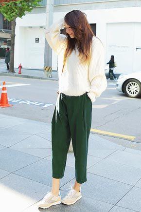 复古纯色宽松哈伦裤