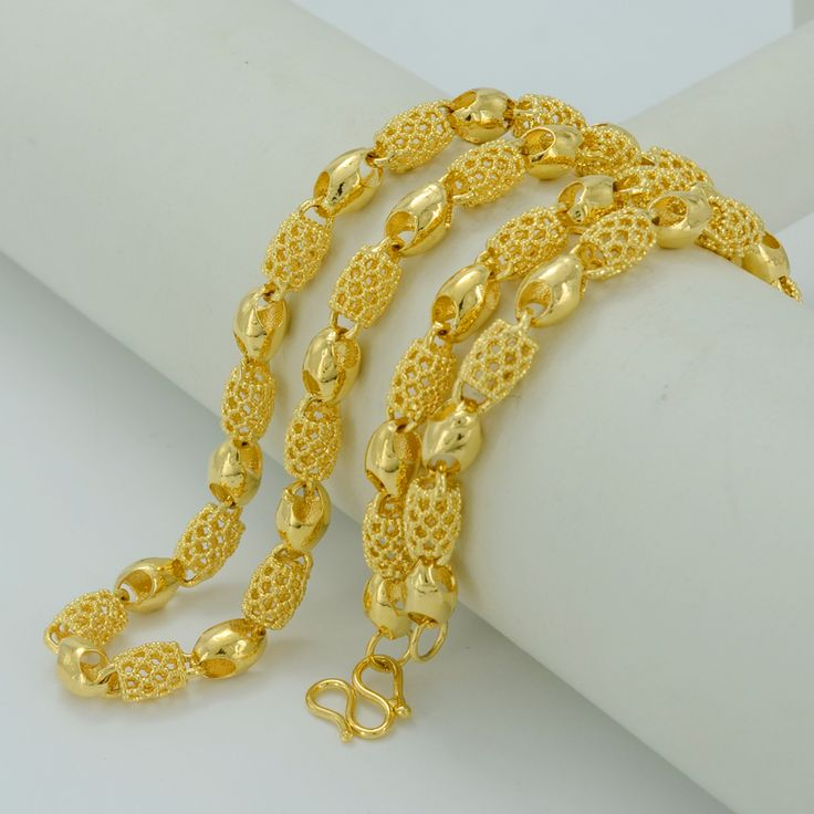 55 cm/África Oro Collares para Las Mujeres, Joyería de Cadena Plateada Oro de Dubai Etíope Grueso Collar de La Boda/Cumpleaños regalo #001207