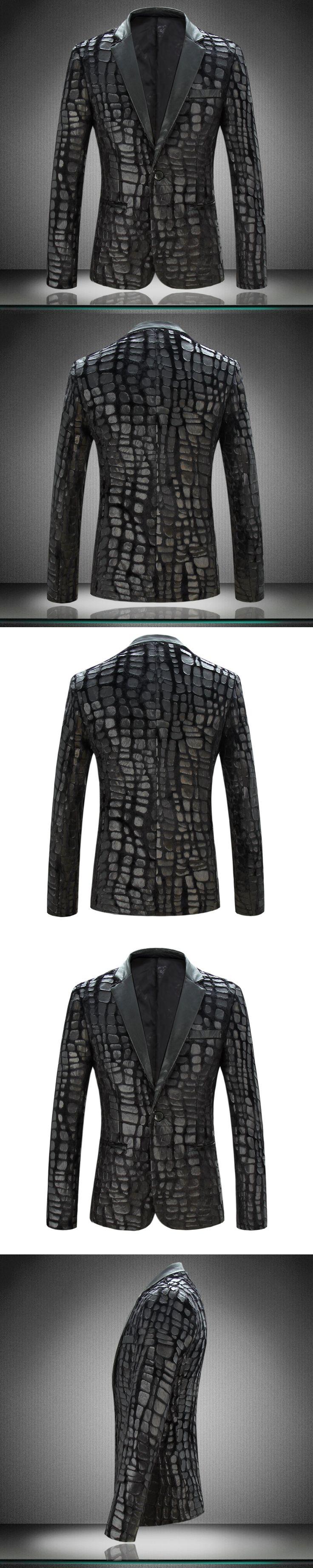 The new velvet suit men 's pressure skin suit jacket personality trend small suit fashion large size suit jacket men