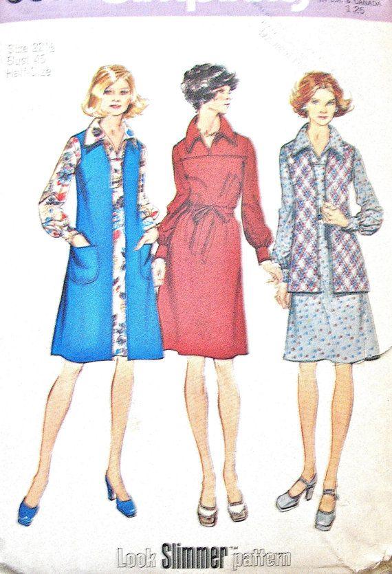non-coupe des années 70 robe 5915 simplicité avec long et court gilet patron de couture Vintage