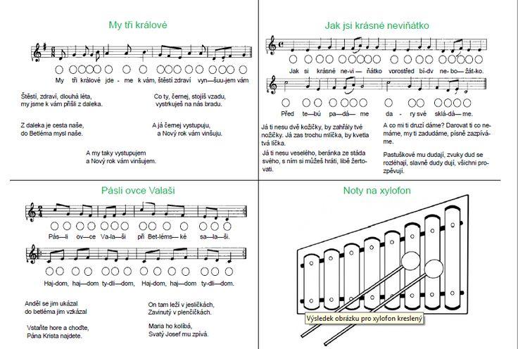 Noty pro xylofon. Písničky jsou zvoleny tak, aby byly využitelné i pro obyčejný xylofon s jednou stupnicí.