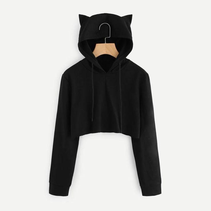 Women Autumn Sweatshirts Women Solid Kpop Long Sleeve Hoodies Sweatshirt Women Cat Ear Hooded Pullover Crop Harajuku Clothes 5