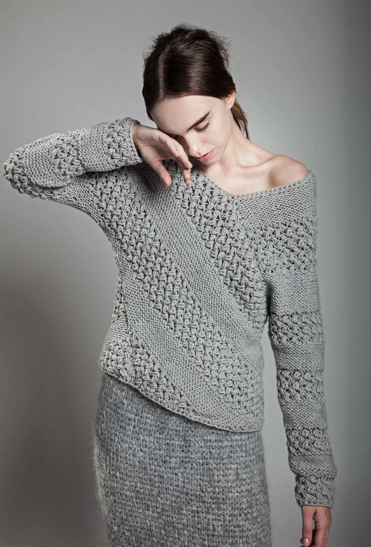 Contemporary Knitwear - grey chunky knit sweater with contrasting textures…