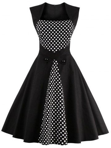 GET $50 NOW | Join RoseGal: Get YOUR $50 NOW!http://www.rosegal.com/vintage-dresses/retro-polka-dot-square-neck-807112.html?seid=1424208rg807112