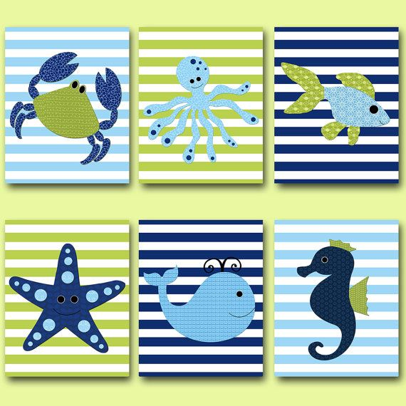 Peces vivero ballena vivero cangrejo guardería Baby Boy vivero arte vivero pared arte kids salón de decoración conjunto de niño de niños lámina de 6 azul verde para niños decoración de la habitación  SIN MARCO - ESTA IMPRESIÓN ES EN PAPEL O EN LIENZO *** 1588 1589 1590 1591 1592 1593  Para volver a mi tienda, haz clic aquí: http://www.etsy.com/shop/artbynataera  Juego de 6 en pulgadas. Hay un borde extra 1/8 pulgadas blanco alrededor de la impresión para facilitar el encuadre. IMPORTANTE: Se…