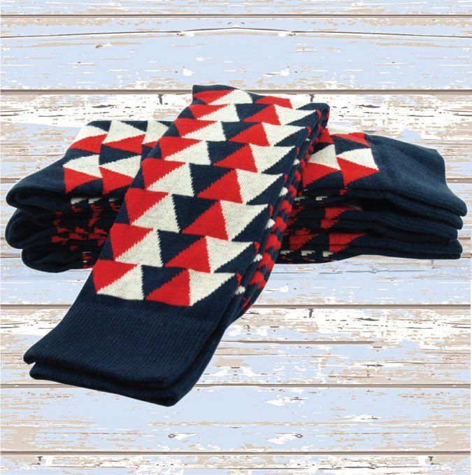 Triangles Red/Navy/Ivory - Twin Roads