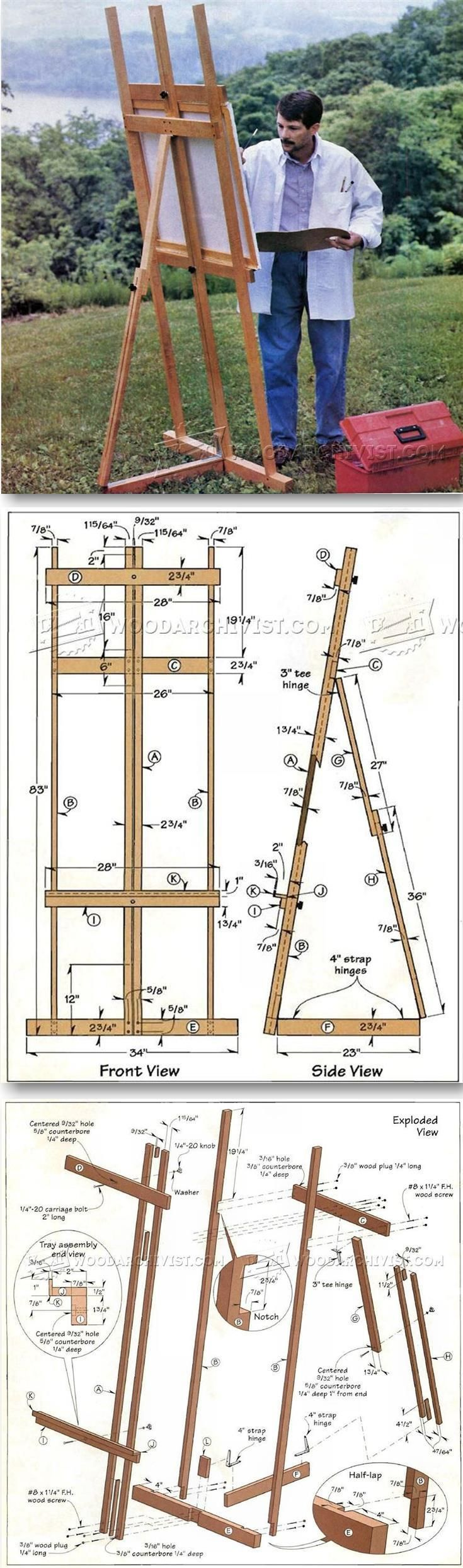 DIY Art Easel - Woodworking Plans and Projects   http://WoodArchivist.com