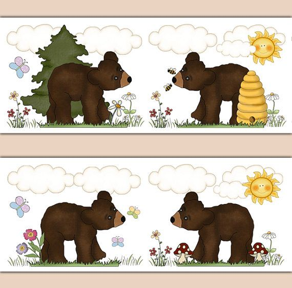 WOODLAND NURSERY BORDER Decal Wall Art Teddy Brown Bear Cub Forest Animal Stickers Decor Girl Boy Room Bee Hive Butterfly Shower Decorations #decampstudios