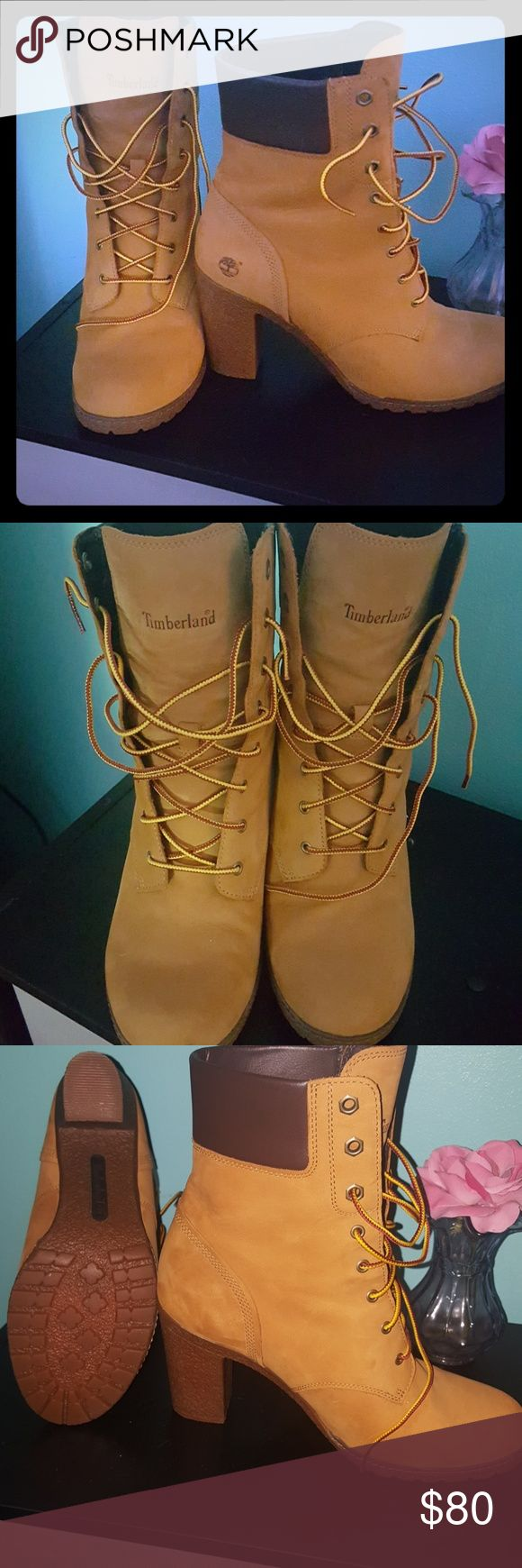 Timberland heel boots worn once !!! Timberland heels  Worn once  Brand new  Size 10  No flaws  Super cute Timberland Shoes