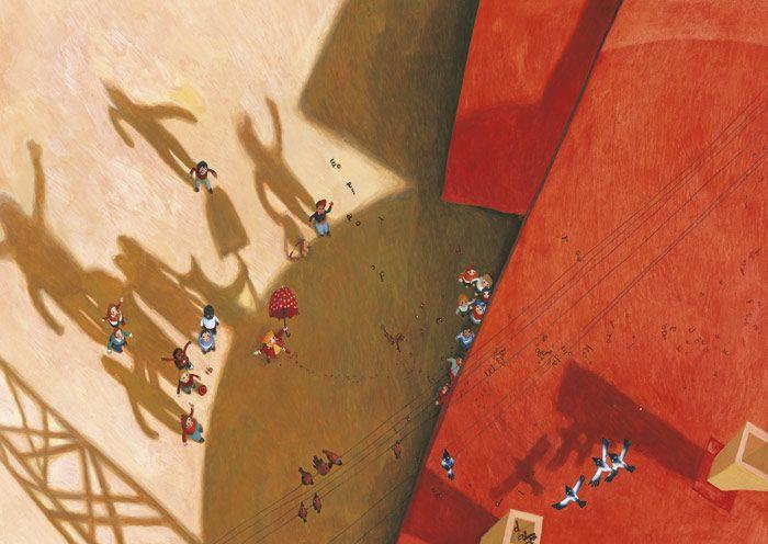 Rebecca Dautremer - 'Il libro che vola', Kite, Padova 2009 - Tecnica mista: acquerello e gouache