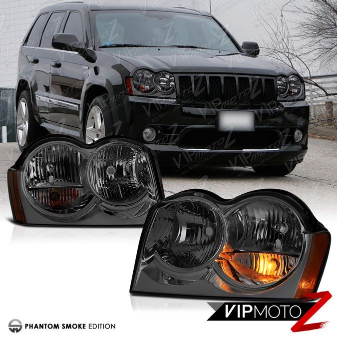 [SMOKE] 2005 2006 2007 Jeep Grand Cherokee WK Tinited Front Headlights Assembly #VIPMOTOZ