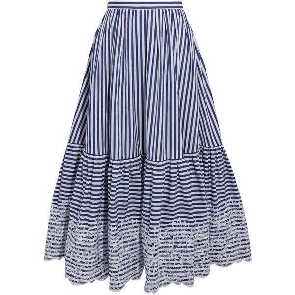 Erdem Leigh embroidered striped cotton midi skirt (221140 RSD) ❤ liked on Polyvore featuring skirts, navy, navy blue a line skirt, navy midi skirt, pleated skirt, navy striped skirt and a-line skirt