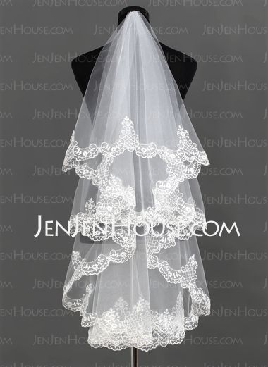 Fingertip Wedding veil ... Wedding ideas for brides, grooms, parents & planners