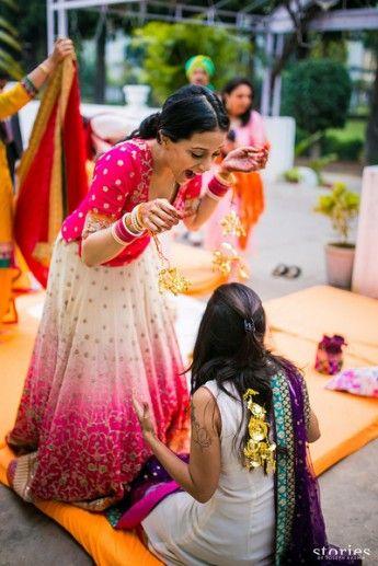 Mehendi Outfits - Pink Shaded Lehenega with Scattered Motif   WedMeGood  #lehenga #indianlehenga #wedmegood