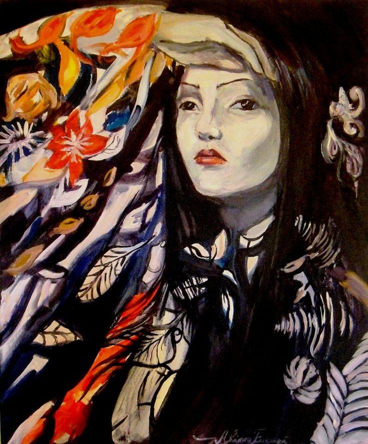 Acrilic on canvas: asian flowers  50x70